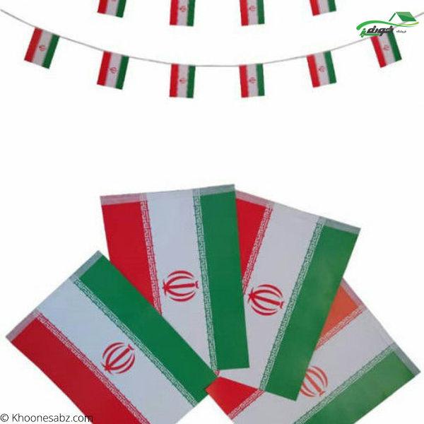 تصویر پرچم ایران ریسه ای چهار گوش 6 -695